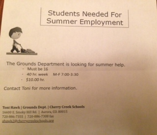 Students Needed For Summer Employment