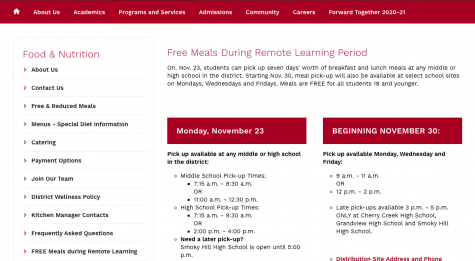 Students can find more information on pick up locations by heading to the free and reduced tab on the Cherry Creek School District website and clicking the free meals during remote learning tab.